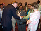 Deputy Secretary of State Zoellick meets employees of the U.S. Embassy Khartoum during an embassy event, November 09,2005  [State Department Photo]