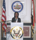 Secretary Rice speaking at the inauguration of the Provincial Reconstruction Team in Mosul, Iraq November 11, 2005