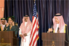 Secretary Rice, standing at podium left, speaking at a joint press conference with Saudi Arabias Foreign Minister Prince Saud al-Faisal, right, November 13, 2005, in Jiddah, Saudi Arabia. [ � AP/WWP]