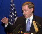 Deputy Secretary of State Robert B. Zoellick at Press Conference in Khartoum, Sudan. AP/Wide World photo.