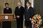 Secretary of State Condoleezza Rice delivers remarks during a wreath-laying ceremony to commemorate fallen diplomats Robert Frasure, Nelson Drew, and Joseph Kruzel. AP/Wide World photo