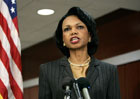 Secretary Rice speaks with reporters before traveling to Europe from Andrews Air Force Base, Md., Monday, Dec. 5, 2005.