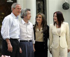 President Bush and Japanese Prime Minister Junichiro Koizumi Pose with Lisa Marie Presley and Priscilla Presley. [�AP/WWP]