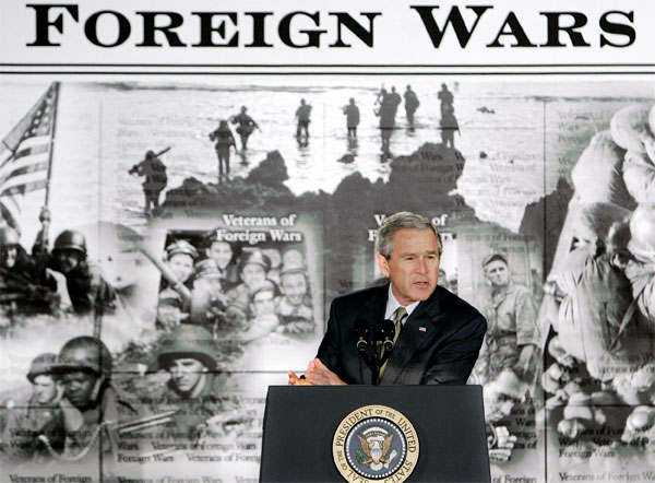 President Bush gestures during a speech about the war on terror on Tuesday, Jan. 10, 2006 in Washington, DC. [� AP/WWP]