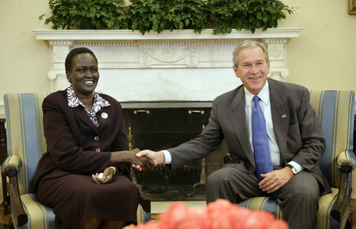 President Bush Rebecca Garang De Mabior, Minister of Transportation, Roads, and Bridges of the Government of southern Sudan, Friday, February 10, 2006, in Washington, DC  [� AP/WWP]