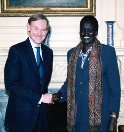 Deputy Secretary Zoellick with Rebecca Garang, Minister of Roads and Transport of the New National Unity Government of the Republic of Sudan after their meeting February 1, 2006 at the U.S. Department of State . [State Department photo]