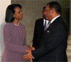 Secretary Rice meets with Bahamian Prime Minister Perry Christie in Nassau, Bahamas March 21, 2006.  [State Department photo]