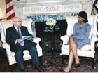 Secretary Rice with Algerian Foreign Minister Mohamed Bedjaoui. State Dept. Photo
