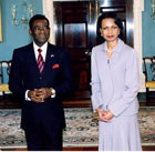 Secretary Rice with Equatorial Guinean President Teodoro Obiang Nguema Mbasogo. State Dept photo.
