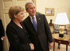 President George W. Bush welcomes German Chancellor Angela Merkel to the Oval Office at the White House, Wednesday, May 3, 2006. White House photo