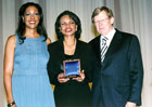 Secretary Rice accepts the Receiving Woman of Valor Award from the Independent Womens Forum.