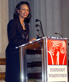 Secretary Rice speaks at the Independent Womens Forum Upon Receiving Woman of Valor Award.