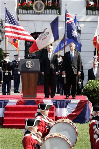 President Bush and Australian Prime Minister John Howard participate in an arrival ceremony at the White House in Washington, Tuesday, May 16, 2006. ,AP/WWP,