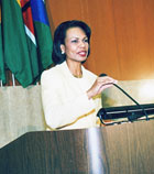 Secretary Rice addresses the opening plenary session of the African Growth and Opportunity Act [AGOA] Forum.