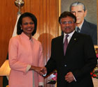 Secretary Rice met with Pakistani President Pervez Musharraf at the Presidential Palace today. State Department photo by Josie Duckett