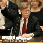 U.S. Ambassador to the United Nations John Bolton votes on a resolution at the UN Security Council on the North Korea missile crisis, July 15, 2006. [� AP/WWP]