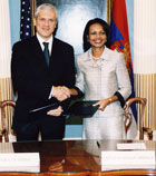 Secretary Rice shakes hands with His Excellency Boris Tadic, President of the Republic of Serbia at Signing Ceremony in the Treaty Room.  State Department Photo by Michael Gross.