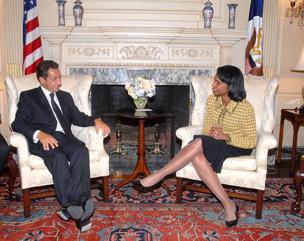 Photo Secretary Rice With French Interior Minister Nicholas Sarkozy