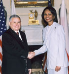 Secretary Rice welcomes the Prime Minister of the Republic of Poland Jaroslaw Kaczynski to the State Department. State Department photo by Michael Gross