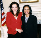 Secretary Rice welcomes h Greek Foreign Minister Dora Bakoyannis to the State Department. State Department photo by Michael Gross