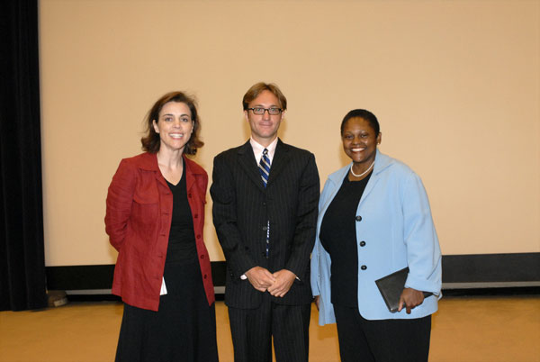 Assistant Secretary Frazer, DAS Carol Thompson and filmmaker Randy Bell at the reviewing of his film, Orphans of the Mathare.