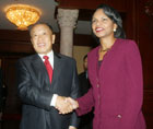 Secretary Rice shakes hands with Chinese Foreign Minister Li Zhaoxing in Beijing, China, October 20, 2006.