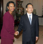 Secretary Rice shakes hands with Chinese Premier Wen Jiabao in Beijing, China, October 20, 2006.
