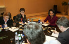 Secretary Rice speaks with the travelling press during a media roundtable in Beijing, China, October 20, 2006.