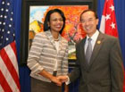 Secretary Rice is joined by Singapore Foreign Minister George Yeo for a bilateral meeting during APEC 2006, Hanoi, Vietnam.