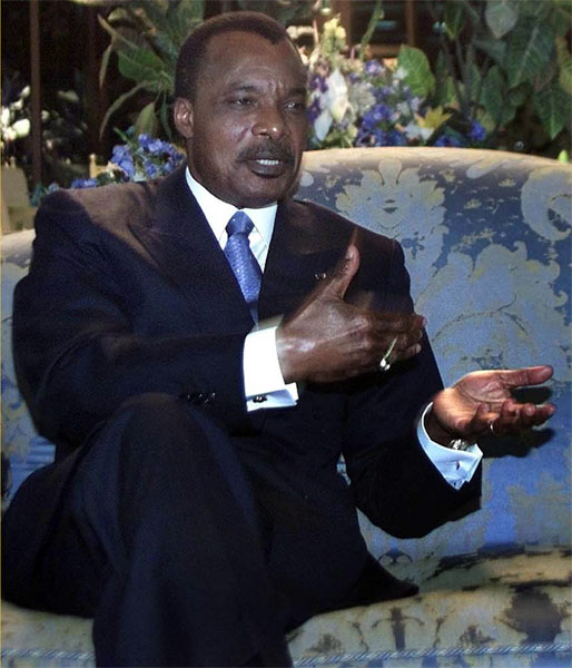 Republic of Congos President Denis Sassou-Nguesso speaks during an interview at his official residence in Brazzaville, capital of the Republic of Congo, Thursday, March 7, 2002. [AP Photo]