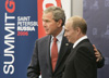 2006:  U.S. President George W. Bush, left, and Russian President Vladimir Putin, right, at G8 Summit site in St. Petersburg, Russia. [AP photo]