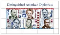 image depicting US postage stamps honoring US diplomats. image courtesy USPS.