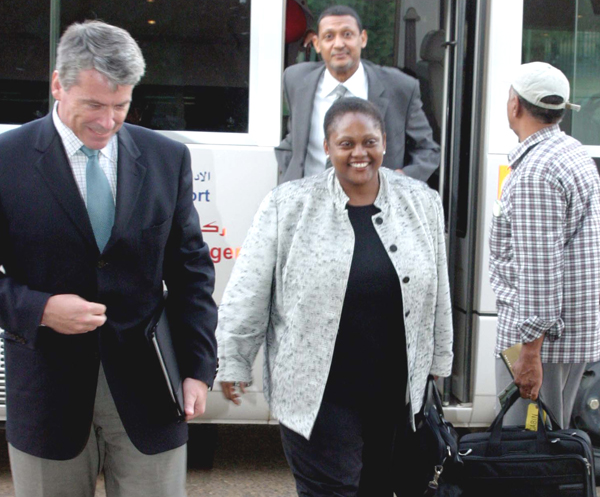 Assistant Secretary Frazer and Tanzanias Foreign Minister arrive in Tanzania on February 9, 2007.