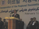 Chang Ki-Ho, the Korean Ambassador to Iraq, delivers remarks at the opening of the Erbil RRT.   US Ambassador Zalmay Khalilzad is on the right.  [February 1, 2007, Photo by Susan Phalen, Department of