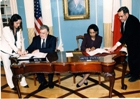 Secretary Rice and Minister of Foreign Affairs of the Republic of Malta Michael Frendo sign a bilateral Proliferation Security Initiative ,PSI, shipboarding agreement. State Dept. photo