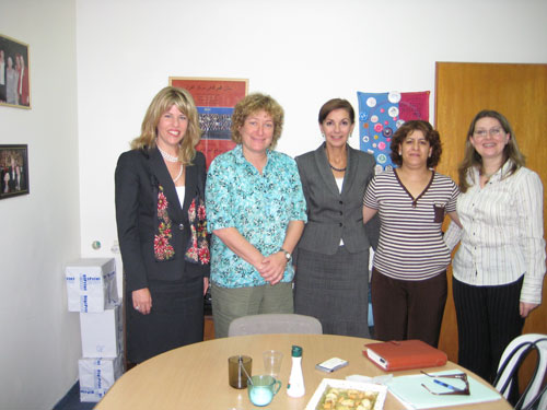 Senior Coordinator Andrea Bottner and Deborah Emmert with staff from the Israel Womens Network.
