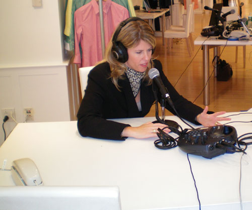 Senior Coordinator Andi Bottner conducting radio interviews at Liz Claiborne Foundation's Time to Talk Day in New York City on September 25, 2007. [State Department photo]