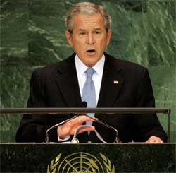 President Bush addresses 62nd session of UN General Assembly at UN Headquarters, New York City, Sept. 25, 2007. [© AP Images]