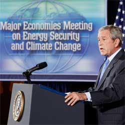 President Bush speaking at the Major Economies Meeting on Energy Security and Climate Change [AP Photo Sept 07]