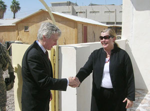 Ambassador Crocker is greeted by PRT Team Leader Kristin Hagerstrom at her office in Ramadi with the 1st Brigade, 3rd Infantry Division. [Apr. 9, 2007]