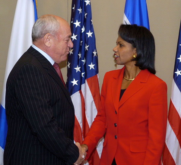 Secretary Rice meets with Israeli Finance Minister Roni Bar-On at the David Citadel Hotel, Jerusalem Oct. 14, 2007. Photo credit: Matty Stern/U.S. Embassy Tel - Aviv