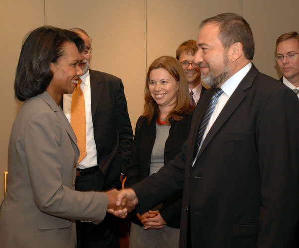 Secretary Rice Meeting with Israeli Minister of Strategic Affairs and Head of Yisrael Betainu political party Avigdor Lieberman, Citadel Hotel Jerusalem, October 15, 2007