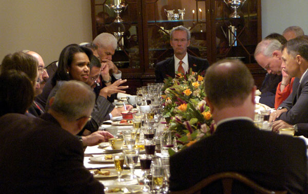 Secretary Rice at a formal dinner in her honor, hosted by U.S. Ambassador to Israel, Richard H. Jones, at his residence in Herzliya, with representatives of the Israeli Civil Society Oct. 16, 2007. Ph