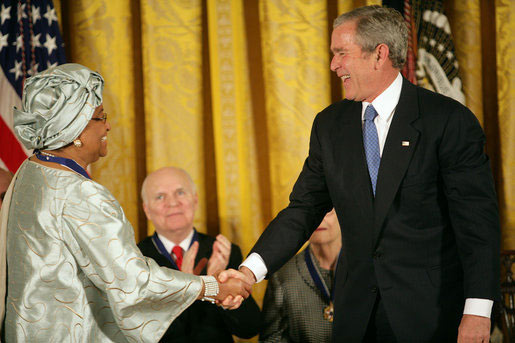 President Bush awards the Presidential Medal of Freedom to Liberian President Ellen Johnson Sirleaf during a ceremony on Nov. 5, 2007, at the White House. White House photo by Eric Draper.
