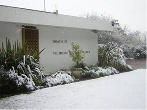 Historic Natural Event - Snow at the Embassy in Maseru, Lesotho