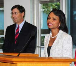 Secretary Rice, right, and S/CRS Coordinator Herbst at reception, Sept. 15, 2008. State Dept photo.
