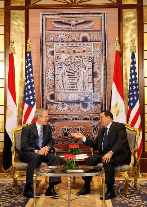 President George W. Bush meets with Egyptian President Hosni Mubarak in Sharm El Sheikh South Sinai, Egypt, Wednesday, Jan. 16, 2008. ,White House photo by Eric Draper,