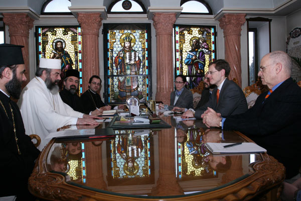 Ambassador Mark P. Lagon ,right, center, meets Romanian Orthodox Patriarch Daniel ,left, center, on February 12, 2008. State Department Photo.