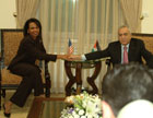Secretary Rice meets with Palestinian Prime Minister Salam Fayyad at the Council of Ministers in Ramallah on March 4. Photo credit:Christina Higgins