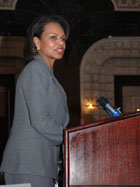 Secretary Rice speaks at the Embassy of the United States, Baghdad, Iraq.  State Department photo.